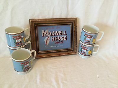 5 Vintage 1970's Maxwell House Small Coffee Cups And Picture. Used