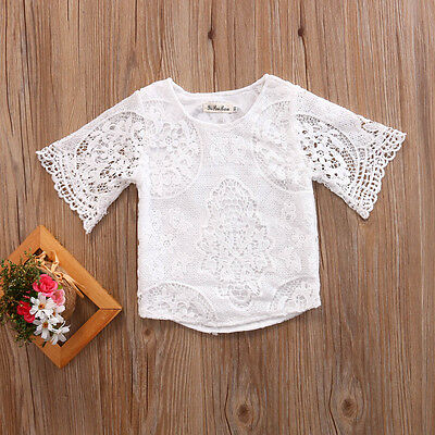 US Stock Summer Newborn Infant Kids Baby Girls Outfits Clothes Lace T-shirt Tops