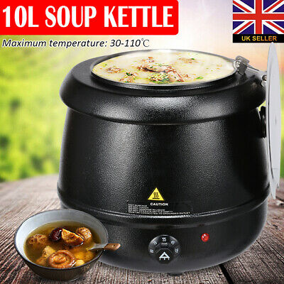 10 LITRES Soup Commercial Kettle Stainless Steel Electric Jug Mulled Wine Warmer