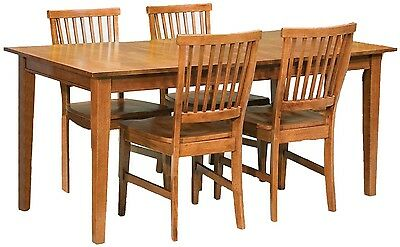 Dining Set 5 Piece Oak Finish Rectangular Table 4 Chair Kitchen Cottage Wood NEW