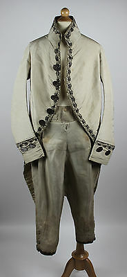 18th Century Suit Including Coat and Breeches with Silver Lace Trim