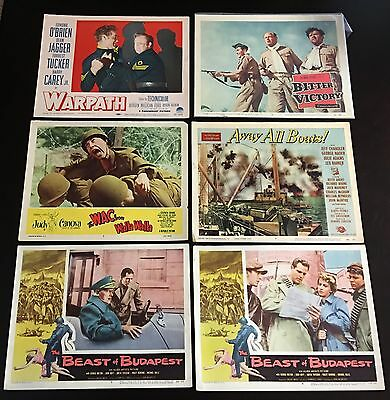 """Lot of 6 Original 1950s Hollywood Movie Lobby Cards - War/Military - 11"""" x 14"""""""