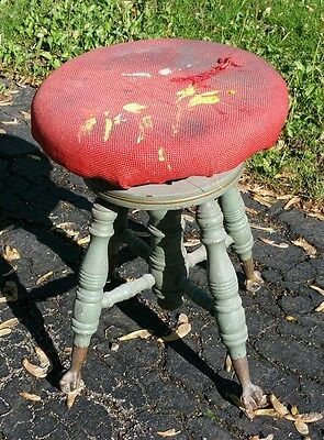 Antique Ball &Claw Footed Piano Stool,Rustic Organ Bench,Artist Owned,Craft Seat