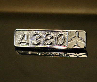 Pin Airbus A380 Rectangle Label for Pilots Crew Maintenance metal silver pin