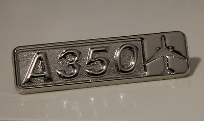 Pin Airbus A350 Rectangle Label for Pilots Crew Maintenance metal silver pin