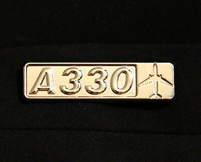 Pin Airbus A330 Rectangle Label for Pilots Crew Maintenance metal silver pin