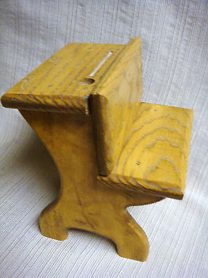 SMALL Handmade OLD FASHIONED One Piece SOLID OAK DESK for DOLL or TEDDY