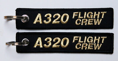 Keyring AIRBUS A320 FLIGHT CREW black/gold label tag for Pilots A 320
