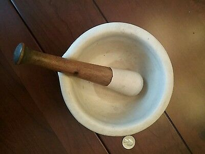 Antique Pharmaceutical Stoneware Mortar & Pestle. Standard Trenton