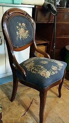Victorian Parlor Side Chair Carved Walnut  1800's Needlepoint Floral Blue