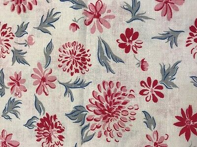 Vintage Feed/Flour Sack Quilt Fabric Pc 38x22 Pink Red Gerber Daisy's Gray