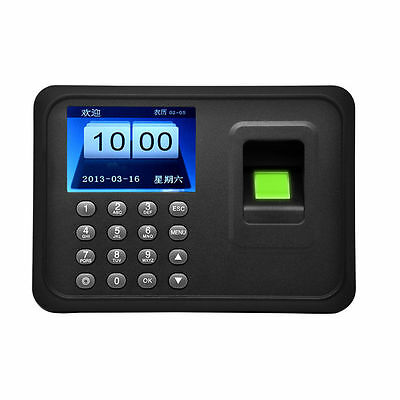 "A6 USB 2.4"" Fingerprint Attendance Time Employee Clock Payroll ID Recorder Punch"