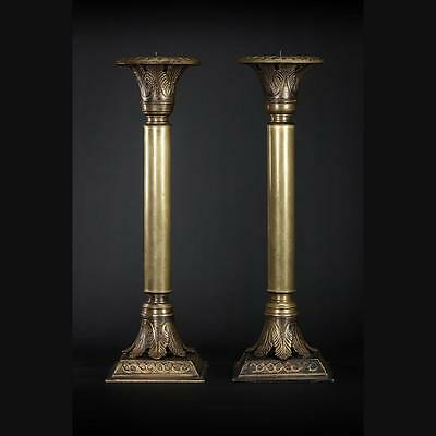 """15"""" Stunning Pair of Antique Bronze Candlesticks Candle Holders Acanthus Leaf 2"""