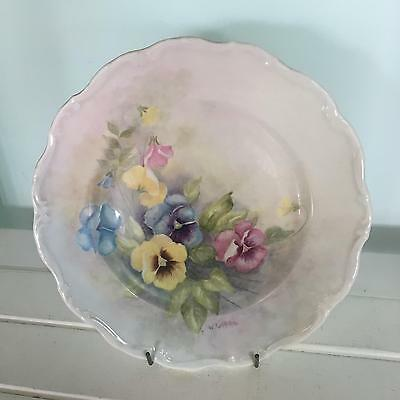 Vintage Hand Painted Plate Signed W Griffiths - flowers pansies
