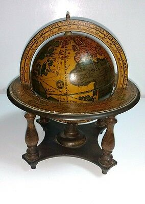 Vintage Italian Tabletop Old World Style Astrology Zodiac Rotating Globe Italy