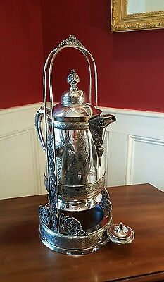 Antique Pairpoint Large Silver Plated Hand Engraved Pitcher Tankard W Stand