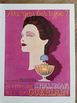 1937 GUERLAIN Shalimar perfume bottle woman head portrait color AD