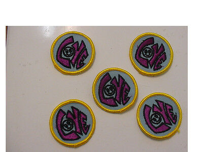 """LOT of 20 Vintage """"LOVE""""  Smiley Face,2"""" Round -purple letters embroidered/ iron"""