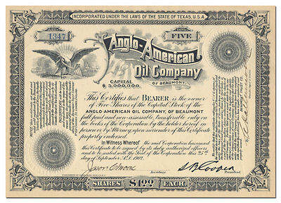 Anglo-American Oil Company of Beaumont (Texas) Stock Certificate
