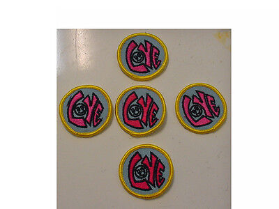 """LOT of 20 Vintage """"LOVE""""  Smiley Face,2"""" Round - pink letters embroidered/ iron"""