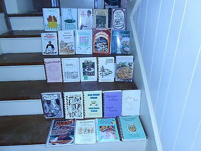 Huge Lot Of 24 Vintage Spiral Bound Cook Books Ethnic Churches Schools Clubs +++