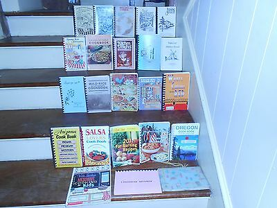 Huge Lot Of 42 Vintage Spiral Bound Cook Books Ethnic Churches Schools Clubs +++