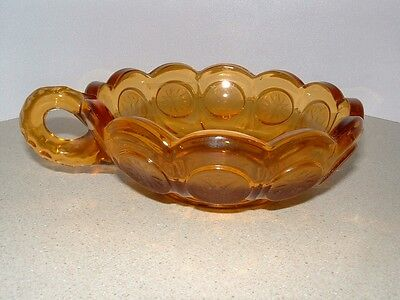 Vintage AMBER Fostoria Handled COIN Dish Candy Nut Bowl