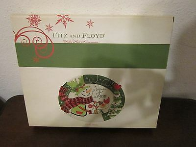 Fitz and Floyd Fitz and Floyd Holly Hat Snowman Cookie Platter - NEW IN BOX