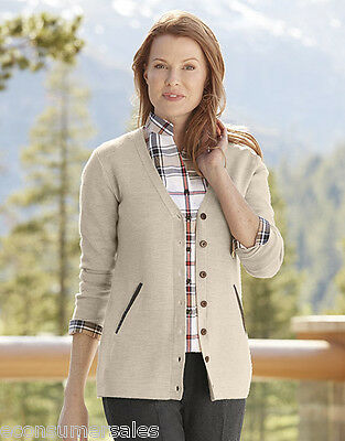 Orvis New Womens Leather trimmed Merino Cardigan Small 6 - 8 Tan Brown Wool NWT