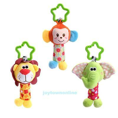 Newborn Baby Kids Soft Plush Animal Handbells Pram Bed Bell Stroller Hanging Toy