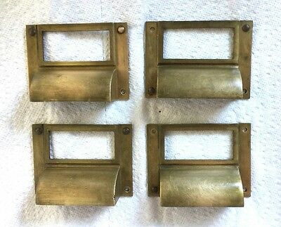vintage Pulls Drawer Handles Solid brass File Card Holder Old Vintage 4 pcs