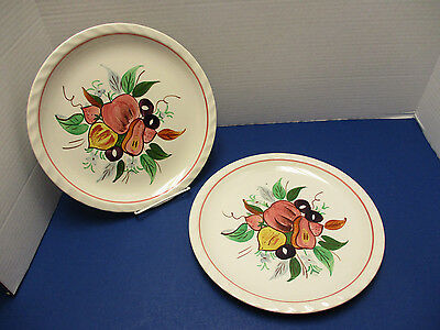 Blue Ridge Pottery Mid Century USA Dixie Harvest 2 Dinner Plates RARE Piecrust