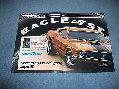 1983 Goodyear Eagle Tires Vintage 2pg Ad with 1970 Boss 302 Mustang