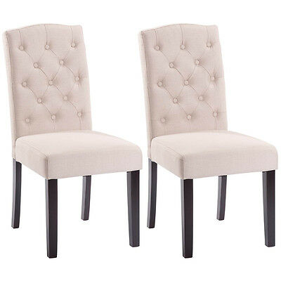 Set of 2 Linen Fabric Wood Accent Dining Chair Tufted Modern Living Room Beige