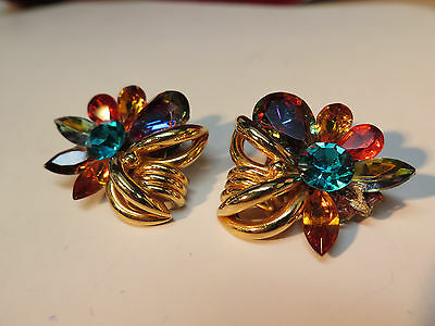 Summer Blue Multicolor Earrings Crystals & Gold Clip On MISSING 1Stone +1 REPAIR