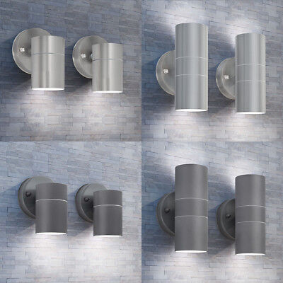 vidaXL 2pcs Outdoor LED Wall Lights Stainless Steel Up/Downwards Garden Lighting