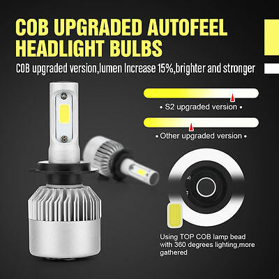 2xH1/H4/H7 200W 20000LM LED Lamp Headlight Kit Car Beam Bulbs 6000k White 9-30V