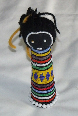 African Hand Beaded Fertility Doll 16.5cm tall with Woollen Hair
