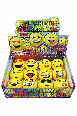 "12er Set Springball ""Smiley / Emoticon"" Chat, blinkend Ø5,5cm"