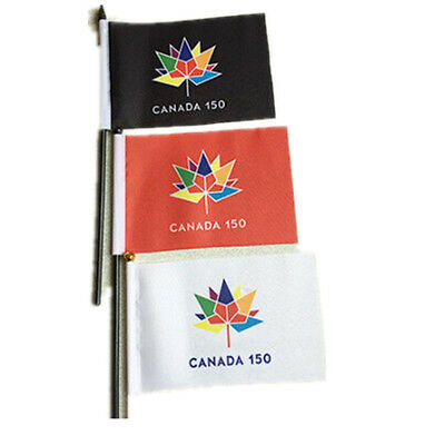 2pcs CANADA 150 YEAR ANNIVERSARY1867-2017 White Flag WITH STICK Wholesale