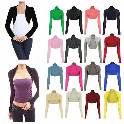 Women Long Sleeve Cropped Plain Bolero Shrug Ladies Cardigan Viscose Summer Top