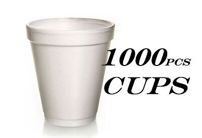1000 Foam Cups Polystyrene Coffee Styrofoam Disposable Cup Insulated 8oz Tea NEW