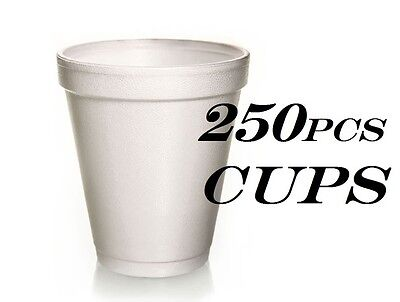 250 Foam Cups Polystyrene Coffee Styrofoam Disposable Cup Insulated 8oz Tea NEW