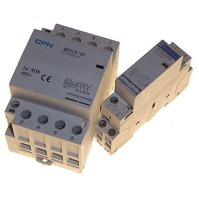 2 x Contactors 40 amp 4 pole and 20 amp 2 pole 240V coil normally open DIN rail