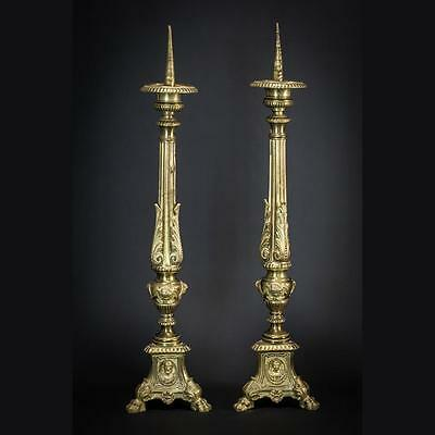 """Pair of French Antique Gilt Bronze Church Candlesticks Candle Holders 25"""""""