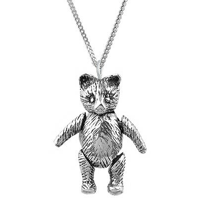 "Ari D Norman Sterling Silver Moving Teddy Bear Pendant 16"" Chain Christening"