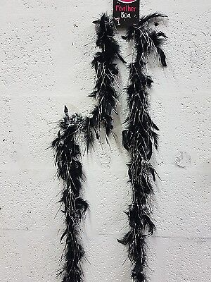 BLACK SILVER BOA HEN PARTY Feather Boa Fancy Dress Stag Costume Party accessory