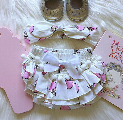 Newborn Baby Girls Lace Ruffle Shorts Pants Nappy Diaper Cover Bloomers Panties