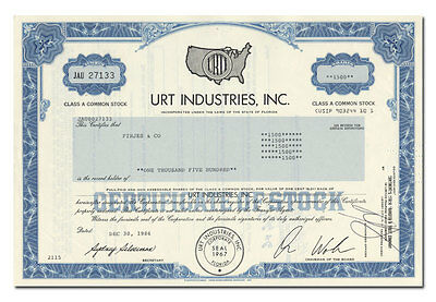 URT Industries, Inc. Stock Certificate (Peaches Record Stores)