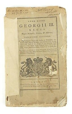 George Iii Parliment Paper Ref Broadstairs Pier & Harbour Printed 1792 Fair Con